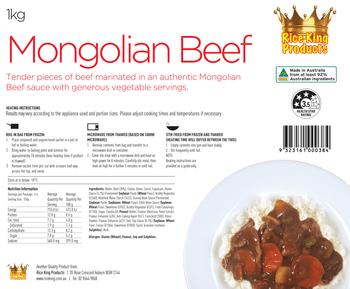 Rice King Mongolian Beef 1kg Spec Sheet