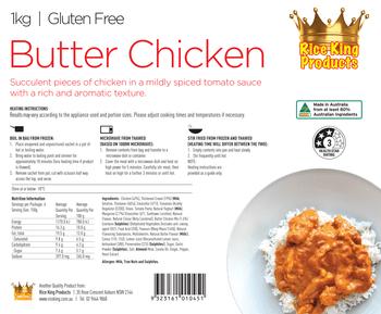 Rice King Butter Chicken Spec Sheet