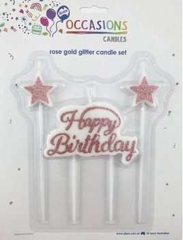 Rose Gold Glitter Happy Birthday Candle Plaque with Stars