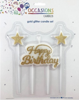 Gold Glitter Happy Birthday Candle Plaque with Stars