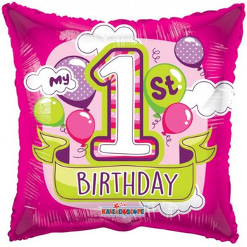 My 1st Birthday Pink Square Foil Balloon