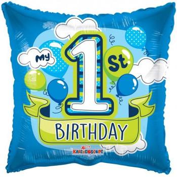 My 1st Birthday Blue Square Foil Balloon