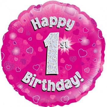 Happy 1st Birthday Pink with Hearts Holographic Foil Balloon