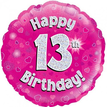 Happy 13th Birthday Pink with Hearts Foil Balloon