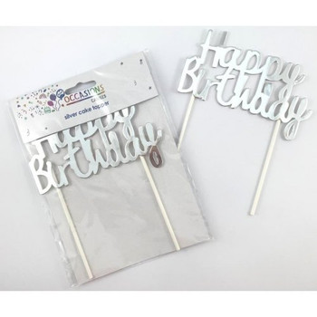 Cardboard Metallic Silver Happy Birthday Cake Topper