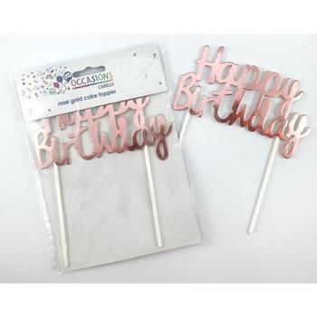 Cardboard Metallic Rose Gold Happy Birthday Cake Topper