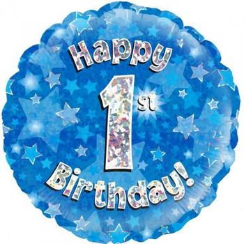 Foil Balloon -Happy 1st Birthday Blue 46cm