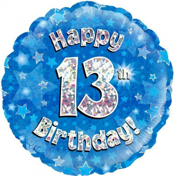 Foil Balloon Happy 13th Birthday Blue and Silver  46cm