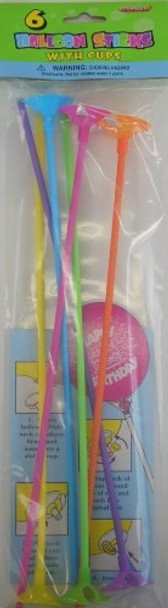 Balloon Sticks With Cups 6Pkt