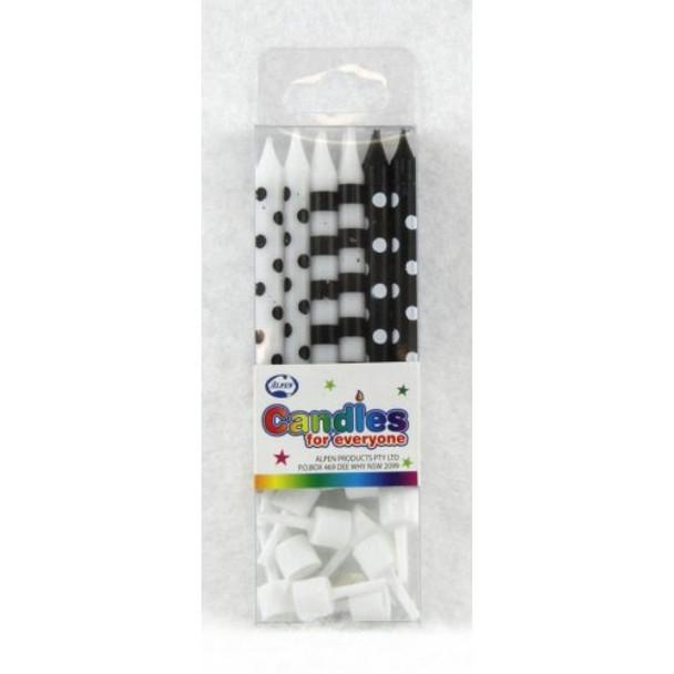 Candles Dots & Stripes Black 12Pk