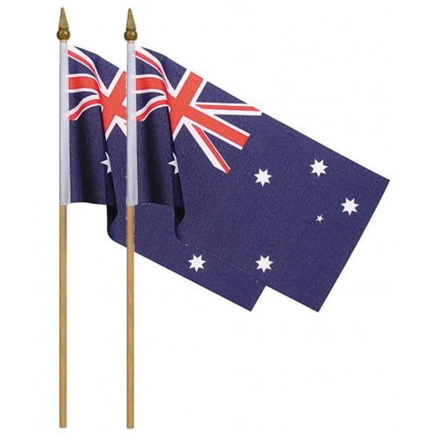 Australian Flags On Stick 22Ccm x15M Pkt 2