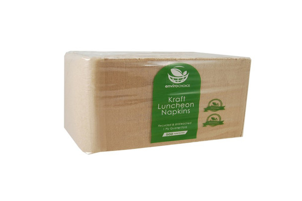 Serviettes Brown Kraft 1Ply Lunch Pkt x 500