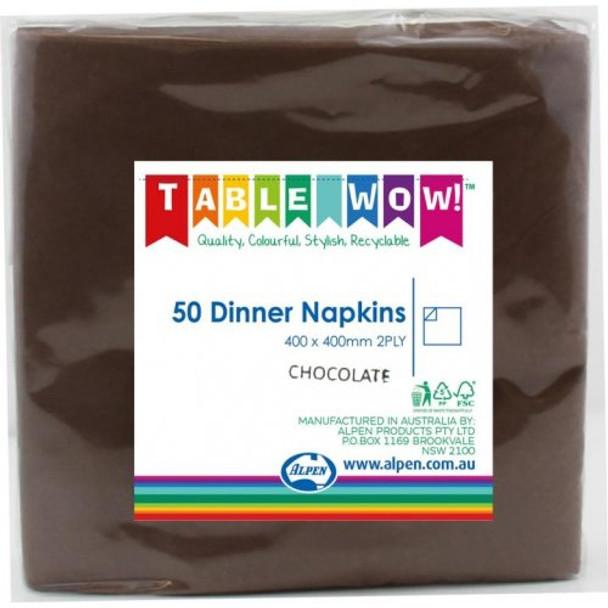 Serviettes Chocolate Dinner 2Ply 100 - Alpen