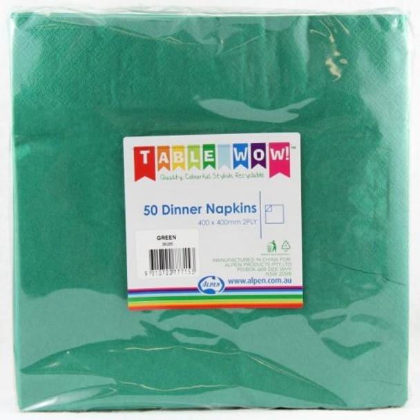 Serviettes Green Dark Dinner 2Ply 100 - Alpen