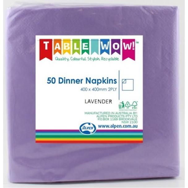 Serviettes Lavender Dinner 2Ply 100 - Alpen
