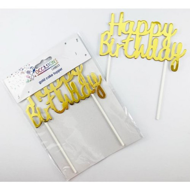 Cardboard Metallic Gold Happy Birthday Cake Topper