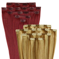 """Marquesa Premium Indian Remy Clip In, 8 pieces, #1B, Body Wave, 16-18"""""""
