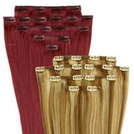 "Marquesa Premium European Remy Clip In, 8 pieces, #60, Silky Straight, 18"""