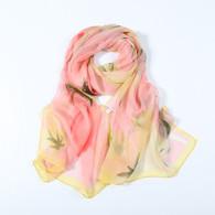 Long Silk Chiffon Scarf Pink Theme Floral Print