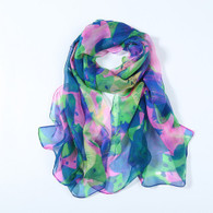 Long Silk Chiffon Scarf Blue Green and Pink Theme Floral Print