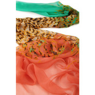 Long Silk Chiffon Scarf Red and Green Theme Leopard Print