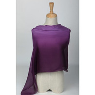 Long Silk Chiffon Scarf Gradient Color Violet