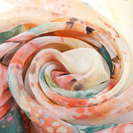 Long Silk Chiffon Scarf Light Pink Theme Floral Print