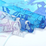 Long Silk Chiffon Scarf Blue Theme Abstract Print
