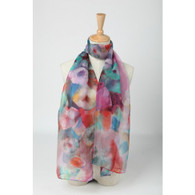 Long Silk Chiffon Scarf Blue and Pink Theme