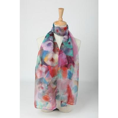 Long Silk Chiffon Scarf Blue and Pink Theme