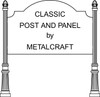 "Post & Panel group includes: 46"" x 81"" Sign Panel with Ears Round Fluted Poles Acorn Finials Europa Bases"