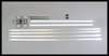 Banner Bracket kit for ROUND POLES includes:  (2) Brackets, (2) Rods, (2) End Caps, (2)CLEVIS PINS (fiberglass rods), (4) Steel Quick Release Bands,
