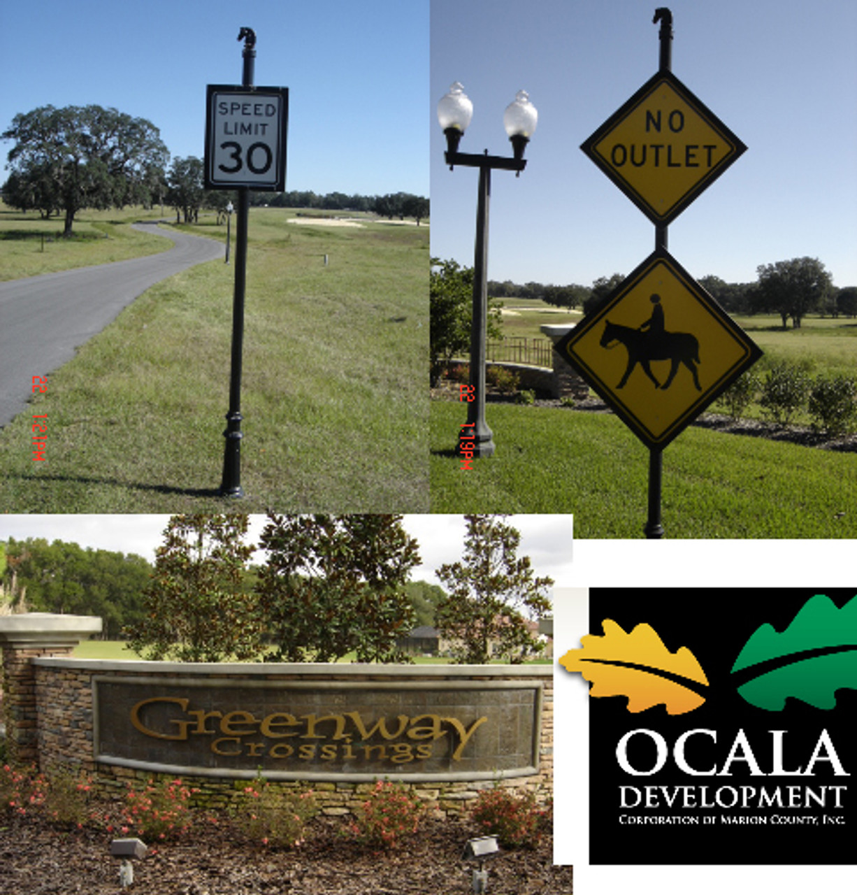 Round Pole (smooth) Horse Head Finials, Traffic Signs & Backers. To request a quote, please include dimensions specific to your project.