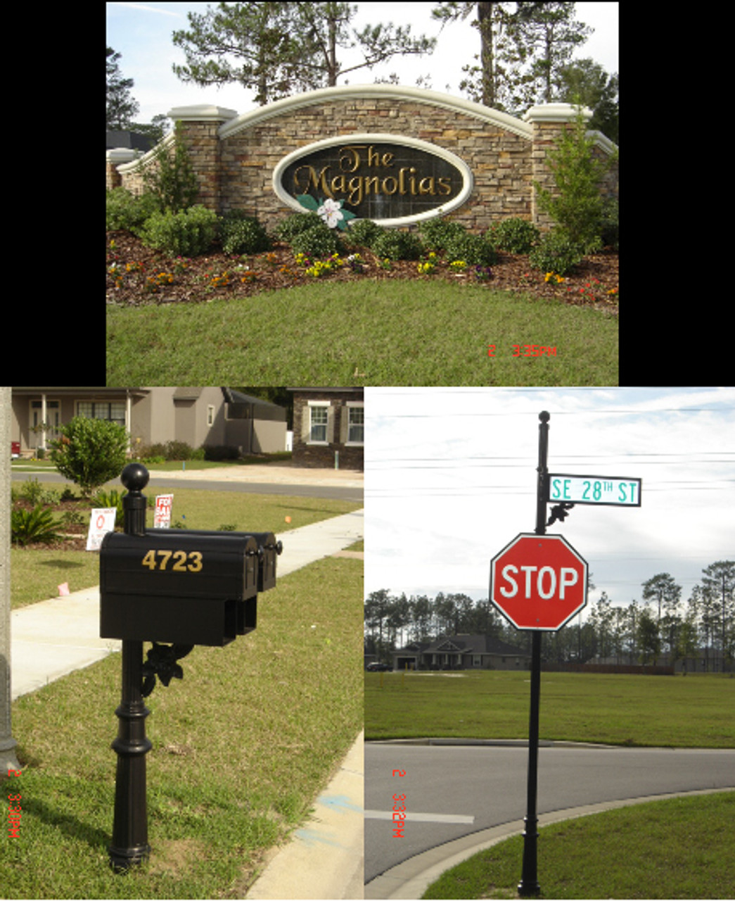 Double mount Mailbox, News box, Magnolia accent, Round Pole, Ball Finial, Europa Base. Street Pole, Ball Finial, Street Blade Paddle, Stop Sign & Backer. To request a quote, please include dimensions specific to your project.