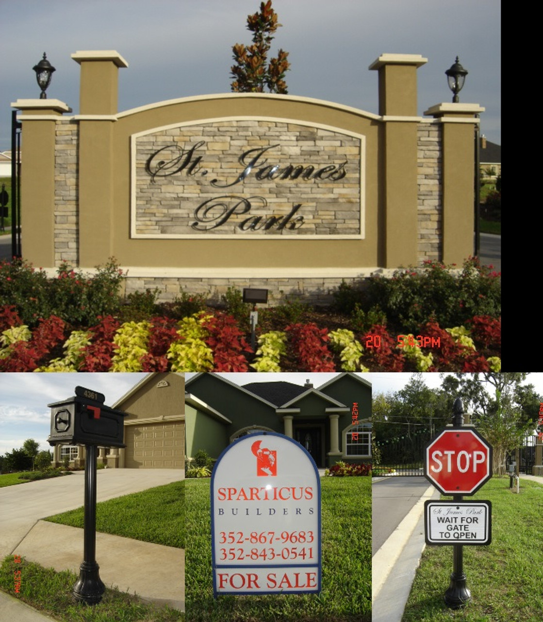 Mailbox style # MB-3 with Address Plaque, installed with Fluted Round Pole and Small American Base.  Real Estate Frame in Round Top style with  digitally printed ARC shaped aluminum sign blank. Fluted Round Pole topped with Acorn Finial and completed with Small Americana. To request a quote, please include dimensions specific to your project. Base. Stop Sign & Backer, Please Wait Sign & Backer.