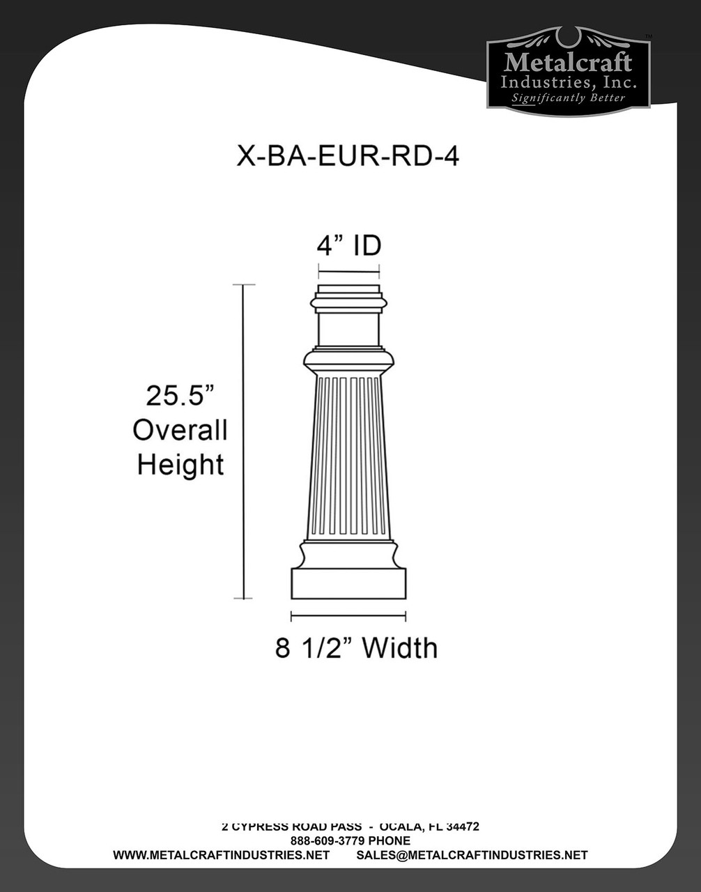 X-BA-EUR-RD-4 SPECIFICATION DRAWING