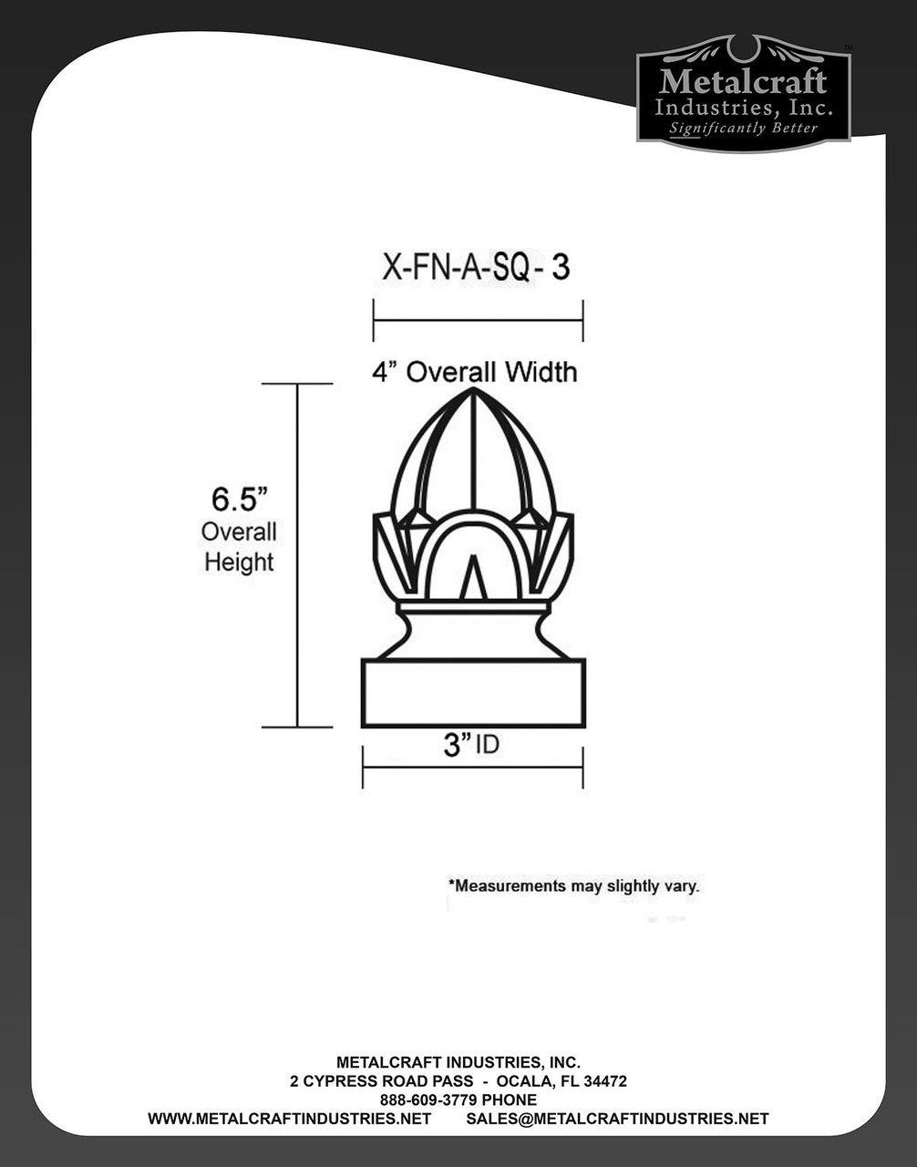 X-FN-A-SQ-3 SPECIFICATION DRAWING