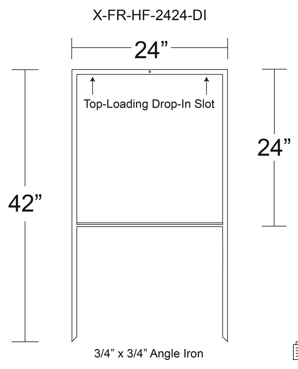 X-FR-2424-DI WITH TOP-LOADING DROP-IN SLOT WITH DIMENSIONS