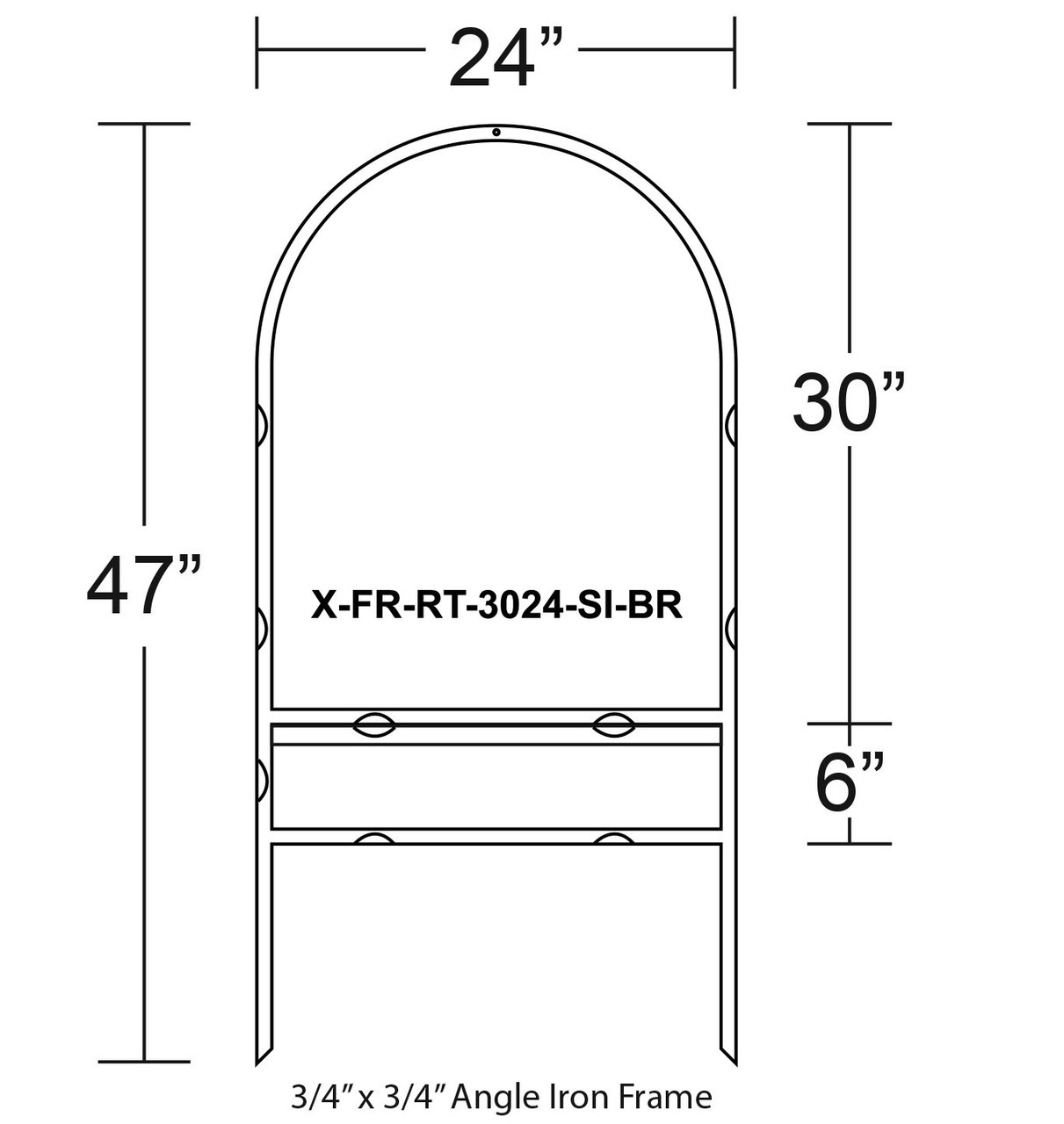 SKU# X-FR-RT-3024-SI-BR WITH DIMENSIONS