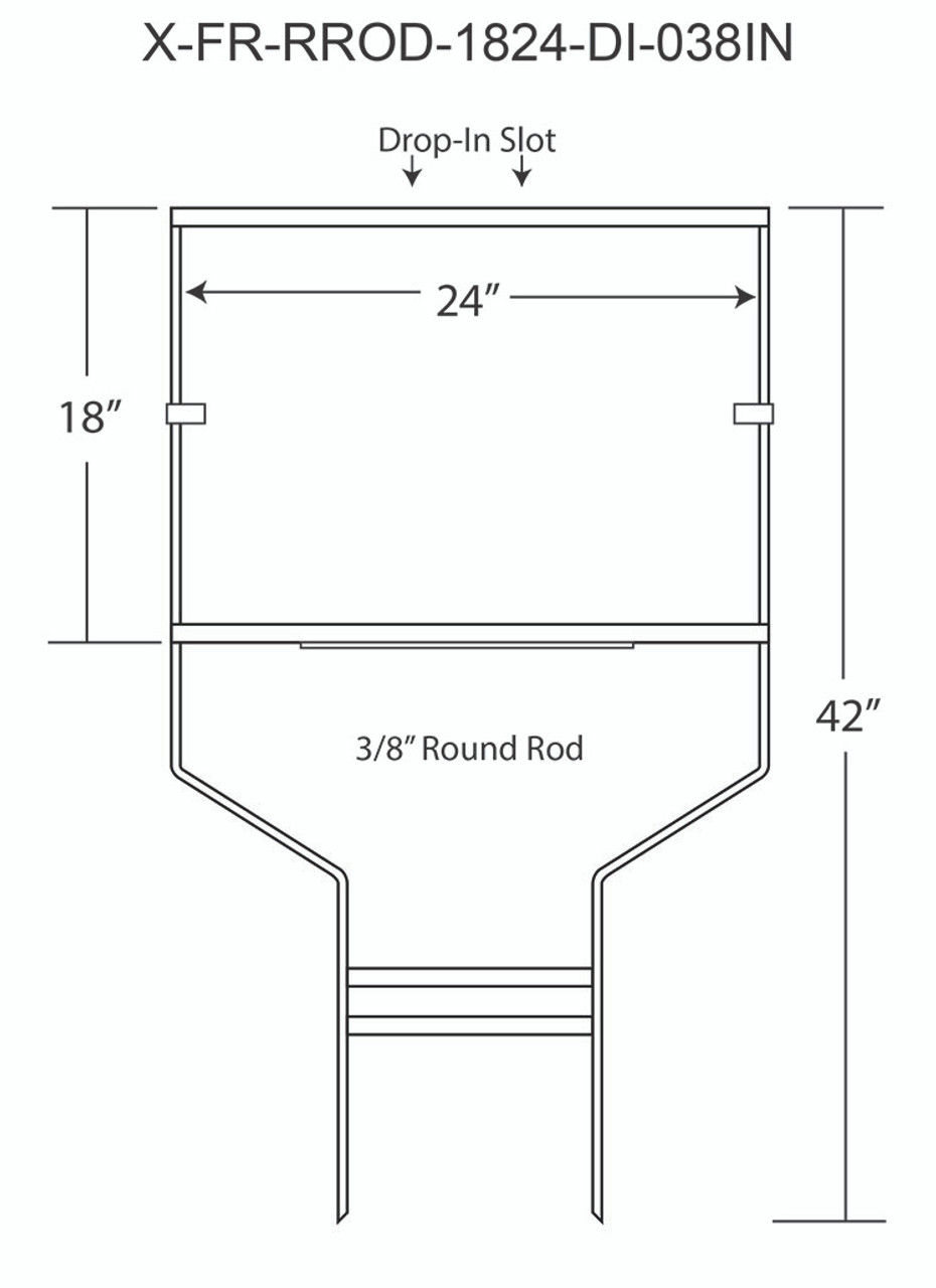SKU# X-FR-RROD-1824-038IN WITH DIMENSIONS