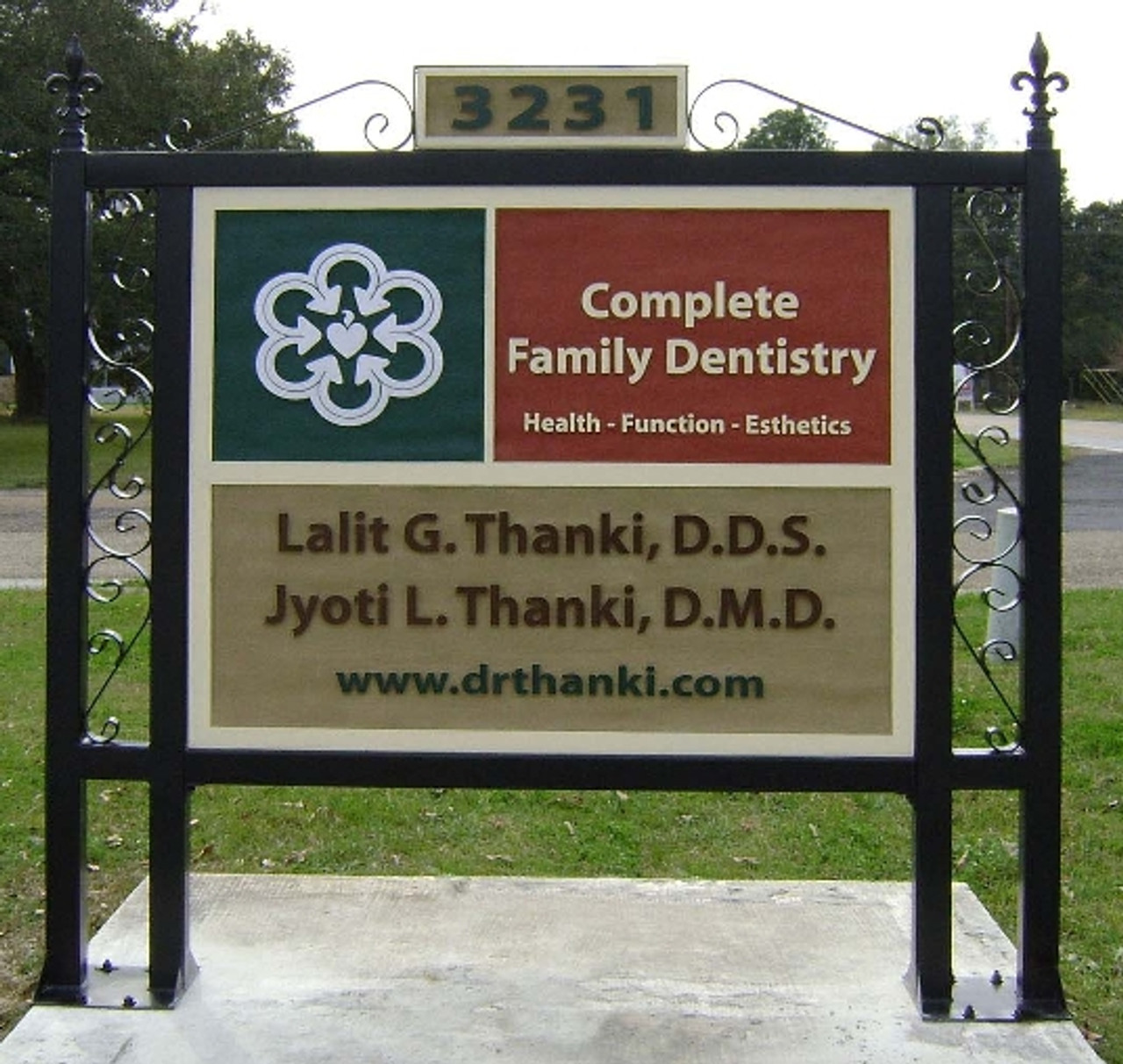 Custom fabricated frame with Fleur de lis finials and customer provided sign blank. To request a quote, please include dimensions specific to your project.