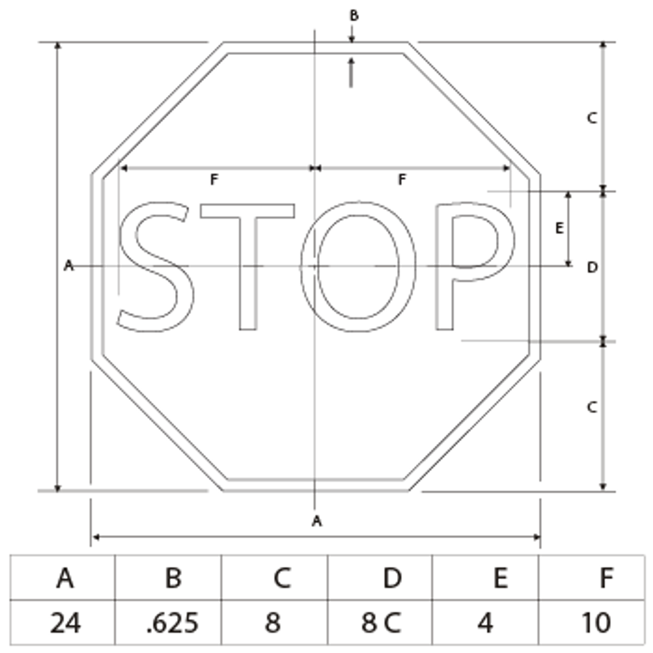 STOP SIGN dimensions