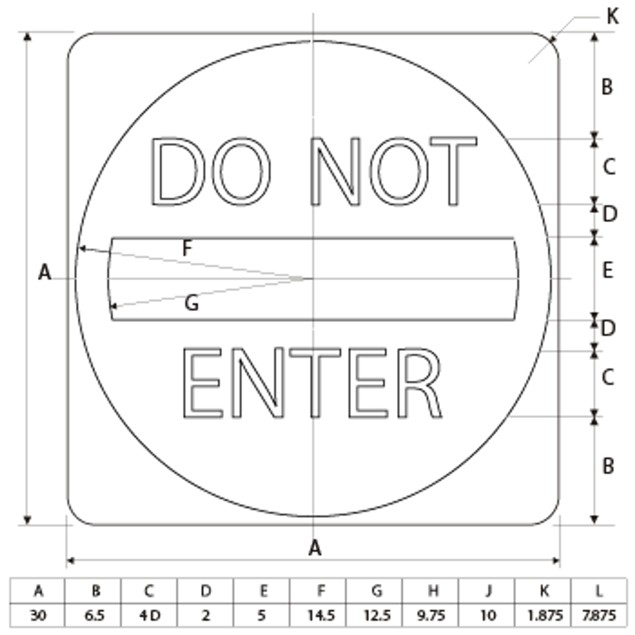 DO NOT ENTER ROAD SIGN dimensions