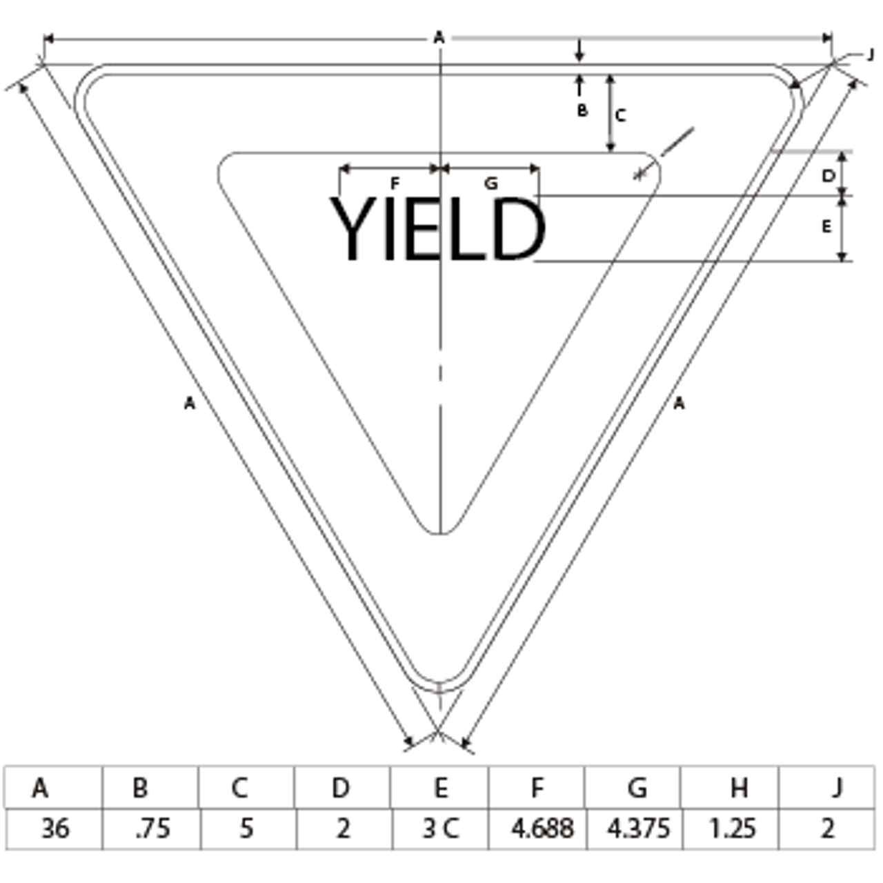 Yield sign print dimensions