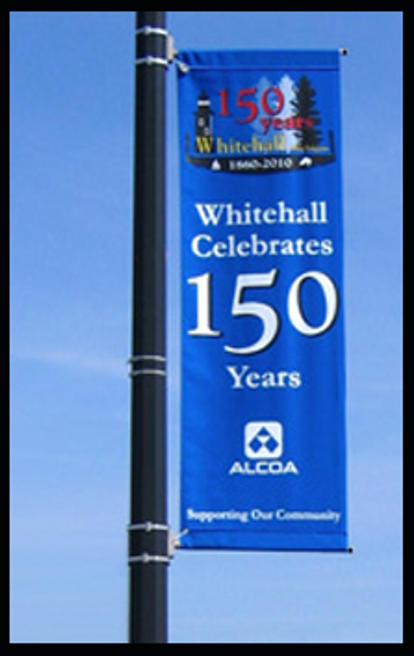 Round Pole mounted Banner Bracket on location