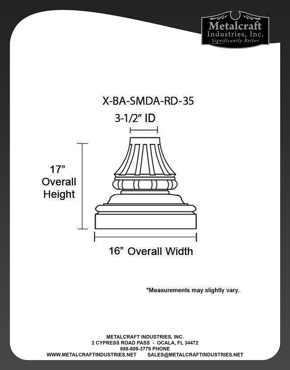 """Specifications for 3 1/2"""" ID Split Style Medium American Base"""