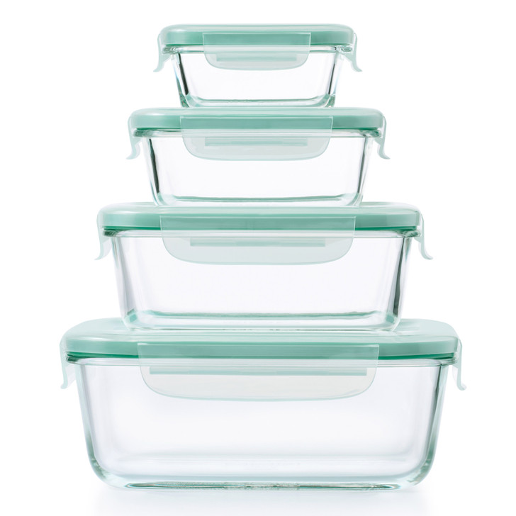 4-Piece Smart Seal Glass Rectangular Container Set