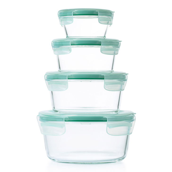4-Piece Smart Seal Glass Round Container Set