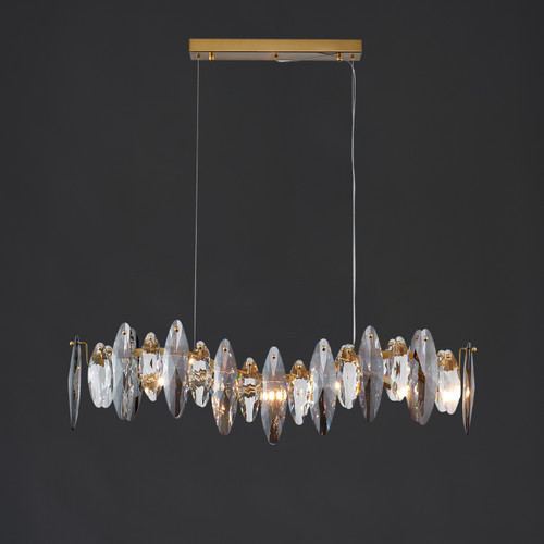 Smoked Crystal Linear Chandelier 6 Lights