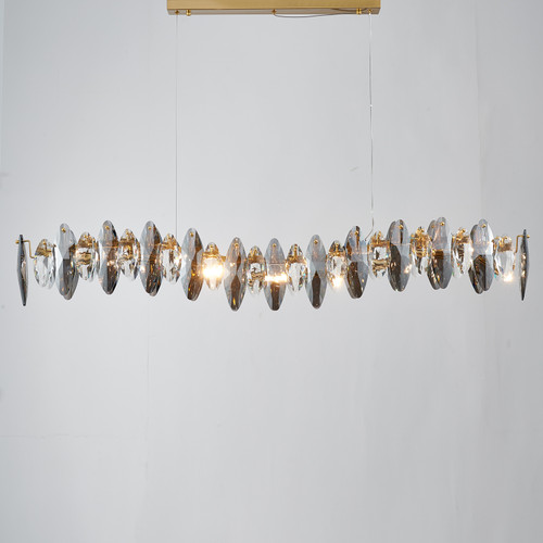Smoked Crystal Linear Chandelier 8 Lights